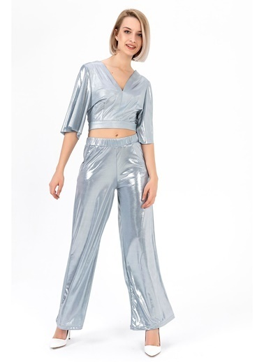 Tiffany&Tomato Parlak Yüksek Bel Geniş Paça Pantolon - Vizon Mavi